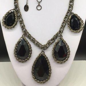 Amrita Singh Black Rhinestone Pendant Necklace